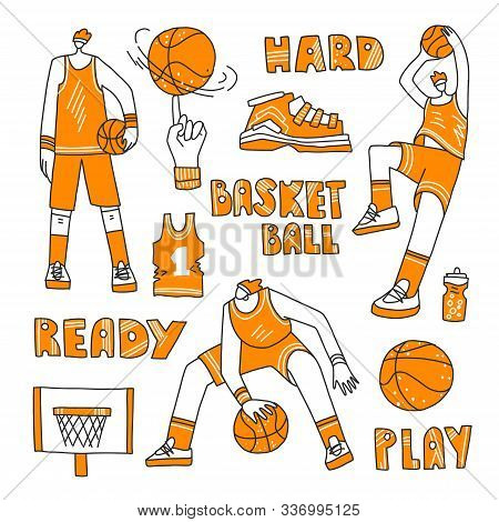 Vector Lined Set Of Basketball - Basketball Players, Basket, Ball, Sneakers. Vector Sport Collection