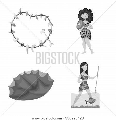 Vector Design Of Survival And History Logo. Collection Of Survival And Prehistory Stock Vector Illus