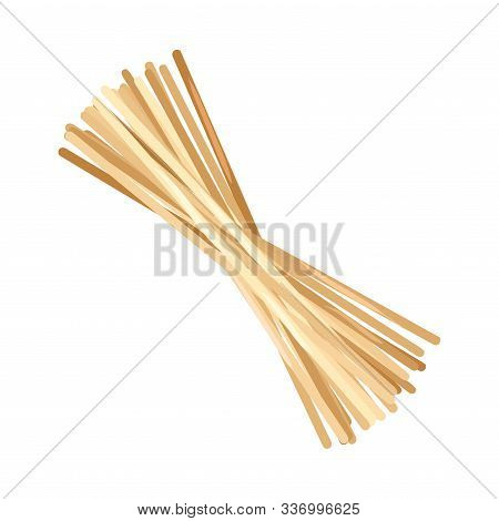 Dry Uncooked Wheat Spaghetti Isolated Vector Item