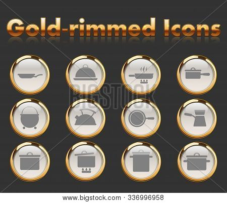 Dishes Gold-rimmed Vector Icons With Black Background