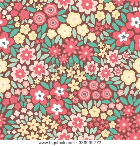 Vector Seamless Pattern With Flat Flowers And Leaves. Cute Floral Background For Your Design. Light