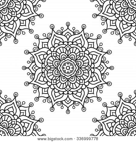 Mandala. Coloring Page. Vector Seamless Pattern With Ethnic Tribal Mandala. Hand Drawn Doodle Flower