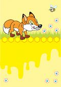 little fox in meadow,yellow background with honeycomb and honey, single bee poster