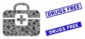 Mosaic medkit pictogram and rectangular Drugs Free watermarks. Flat vector medkit mosaic pictogram of randomized rotated rectangular items. Blue Drugs Free watermarks with corroded textures. poster