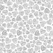 Seamless Pattern of Black and White Contour Hearts for Page of Coloring Book. Continuous Background Doodle Art Hand-drawn Symbols Uncolored Hearts. poster