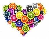 Cloth buttons Love Heart formed from cloth buttons. poster