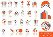 Abstract vector illustration of several logos and designs poster