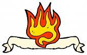 cartoon flaming scroll heraldry sign poster