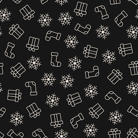 Christmas Seamless Pattern. Winter Holiday Theme. Vector Background With Traditional Symbols, Gifts,