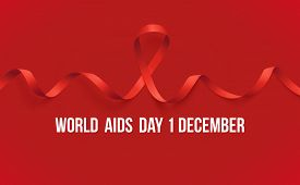 Banner With Realistic Red Ribbon. Poster With Symbol For World Aids Day, 1 December. Design Template