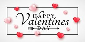 Banner For Valentine's Day. 3D Hearts With Stylish Lettering In A Frame. Romantic Cover. Vector Illu