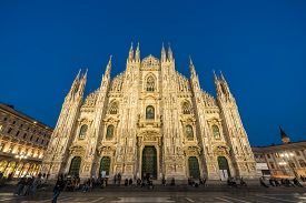 Milan, Italy - September 29, 2017 :  Tourist In Front Of Duomo Di Milan Which Is The Most Famous Got