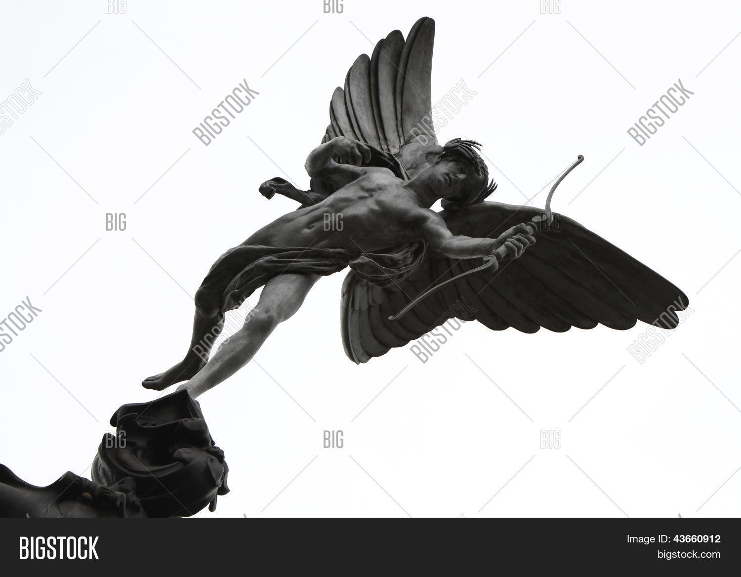 This statue of a winged archer poised with his bow is known as The Statue  of Eros the God of Love.