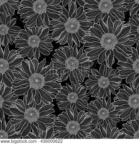 Vector Seamless Pattern Of Chamomile Flowers In Black And White. Decorative Print For Wallpaper, Wra
