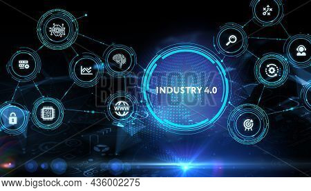 Industry 4.0 Cloud Computing, Physical Systems, Iot, Cognitive Computing Industry.3d Illustration