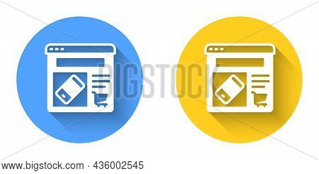 White Online Shopping On Screen Icon Isolated With Long Shadow Background. Concept E-commerce, E-bus