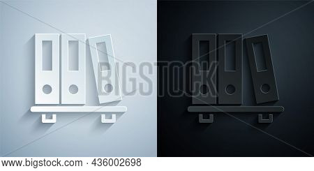 Paper Cut Office Folders With Papers And Documents Icon Isolated On Grey And Black Background. Offic