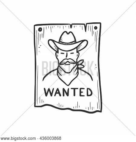 Hand Drawn Bandit Cowboy Wanted Element. Comic Doodle Sketch Style. Cowboy Bandit, Western Concept I