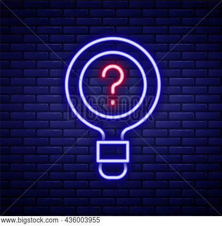 Glowing Neon Line Unknown Search Icon Isolated On Brick Wall Background. Magnifying Glass And Questi