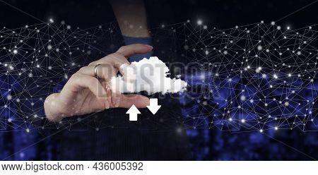 Download Data Storage Business Technology Network Concept. Hand Hold Digital Hologram Cloud, Downloa