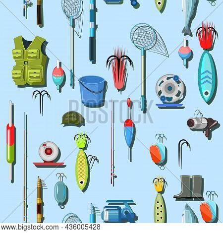 Goods For Fishing. Equipment And Accessories For Recreation And Hunting On Reservoirs. Isolated On W