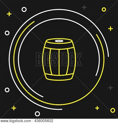 Line Wooden Barrel Icon Isolated On Black Background. Alcohol Barrel, Drink Container, Wooden Keg Fo