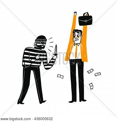 A Thief Is Robbing A Businessman. Hand Draw Vector Illustration Doodle Style