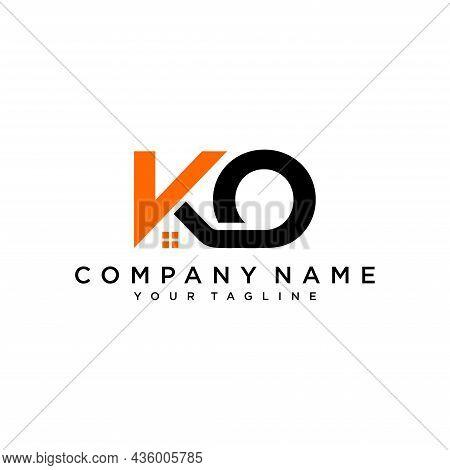 Initial Ko Home Logo Icon Design Vector, Vector Illustration