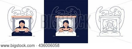Nightmare Disorder Illustration Set. Scared Woman Is Waking Up From A Nightmare And Lying In Bed. Sl