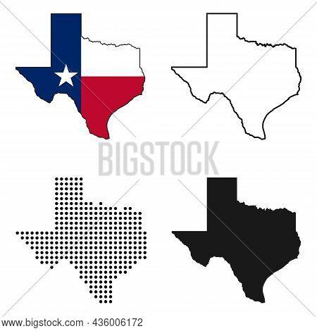 Texas Map Icon Set. Texas Map Symbol Isolated On White Background