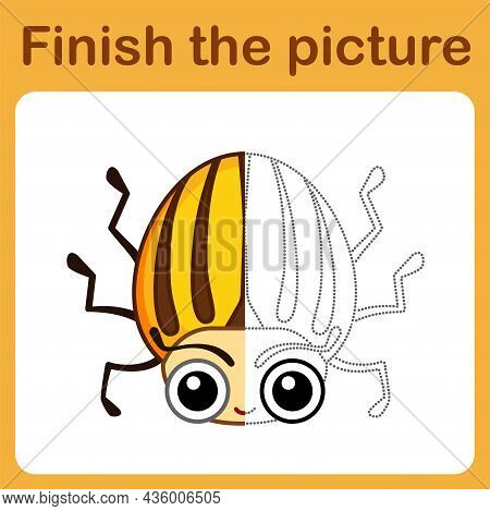Connect The Dot And Complete The Picture. Simple Coloring Funny Insect Colorado Potato Beetle. Drawi