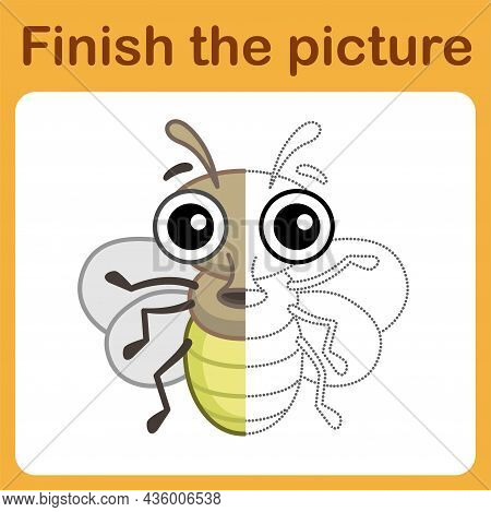 Connect The Dot And Complete The Picture. Simple Coloring Funny Insect Fly. Drawing Game For Childre