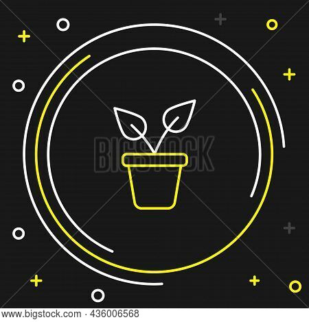 Line Plant In Pot Icon Isolated On Black Background. Plant Growing In A Pot. Potted Plant Sign. Colo