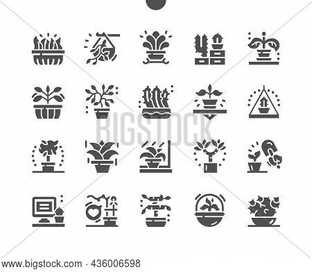 Plants In Pots. Potted Grass. Favorite Flower. Cactus. Gardening And Home Decor. Vector Solid Icons.
