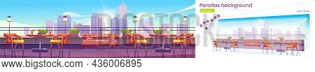 Restaurant On Rooftop Or Building Terrace With City View. Vector Parallax Background For 2d Game Ani