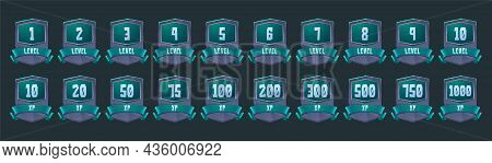 Old Badges With Level Number And Experience Points For Game Ui Design. Vector Cartoon Icons Of Stone