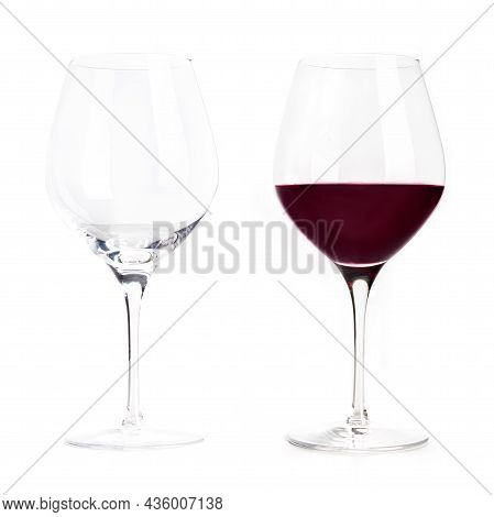 Red Wine Glass, Empty And Full, Isolated On A White Background. Elegant Cup Wineglass, Classic Style