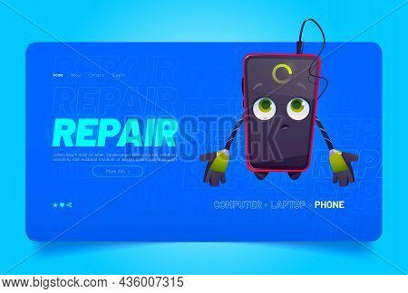 Smartphone Repair. Cute Mobile Phone Character With Broken Screen, Low Charge And Fix Tools. Vector