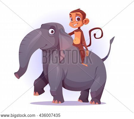 Monkey Riding On Elephant Back, Cute Cartoon Characters, Funny Ape Mascot Smiling, Game Or Book Pers