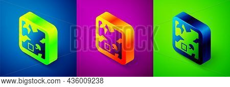 Isometric Broken Cardboard Box Icon Isolated On Blue, Purple And Green Background. Box, Package, Par