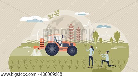 Green Revolution And Agriculture Productivity Increase Tiny Person Concept. Grain Crops Production B