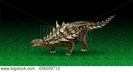 Acanthopolis Realistic Dinosaur. Vector Illustration Of A Prehistoric Dinosaur Ankylosaurus. Dinosau