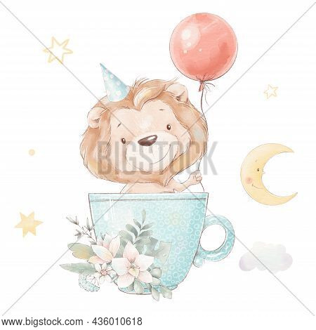 Set Of Cute Cartoon Lion Cub In A Cup And Balloon. Watercolor Illustration