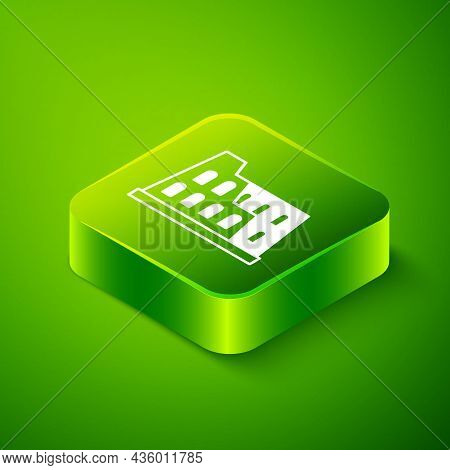 Isometric Coliseum In Rome, Italy Icon Isolated On Green Background. Colosseum Sign. Symbol Of Ancie