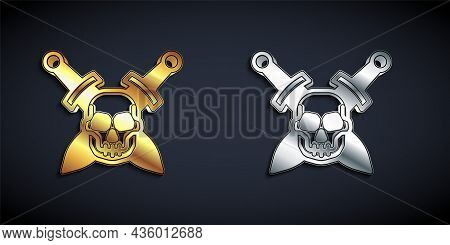 Gold And Silver Crossed Medieval Sword With Skull Icon Isolated On Black Background. Medieval Weapon