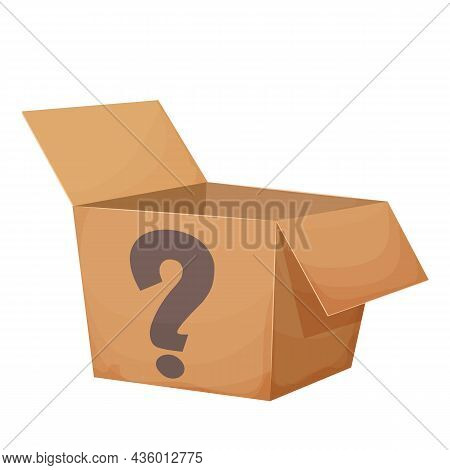 Mystery Cardboard Box With Question, Open, Present In Cartoon Style Isolated On White Background. Fu