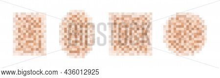 Censor Blur Effect Texture For Face Or Nude Skin Isolated On White Background. Blurry Pixel Color Ce