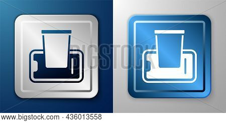 White Food Ordering On Mobile Icon Isolated On Blue And Grey Background. Order By Mobile Phone. Rest