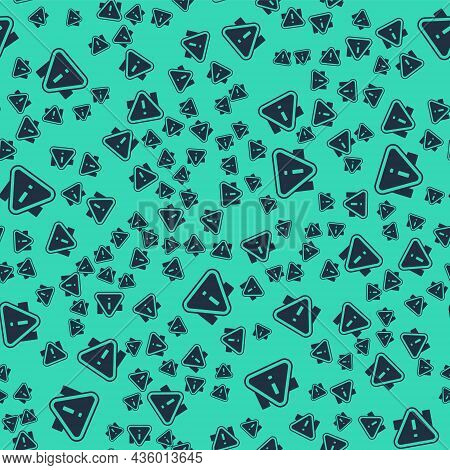 Black Exclamation Mark In Triangle Icon Isolated Seamless Pattern On Green Background. Hazard Warnin