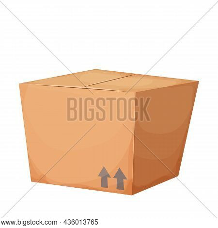 Closed Cardboard Box In Cartoon Style Isolated On White Background. Gift, Surprise Or Deliver. Trans